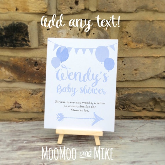 Baby shower sign comes with small easel to stand on   Add any text   Baby shower decor   Party favours   Birthday party favours