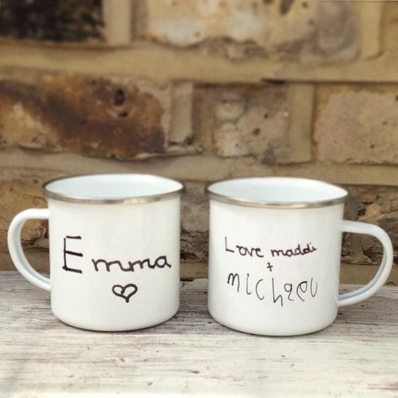 Your childs artwork on a mug   Childrens artwork mug   Add any picture / drawing   Personalised mug   Enamel mug