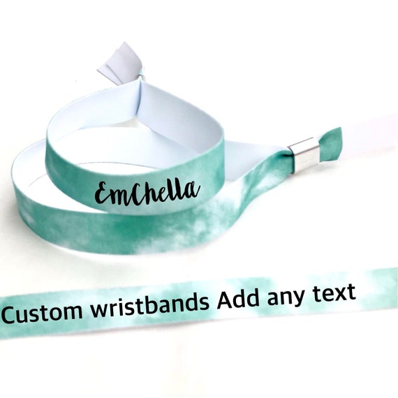 Personalised wristbands | Tie dye design | Add any text | Wedding wristbands | Festival wristbands | Green tie dye