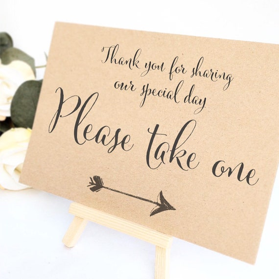 Favour sign comes with small easel to stand on | Add any text | Wedding favour sign | Party favours | Birthday party favours | Rustic