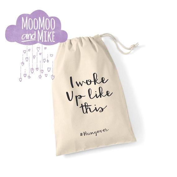 I woke up like this #hungover gift bag | Drawstring bag | Hen party bags | Hangover kit bag | Wedding gift bags