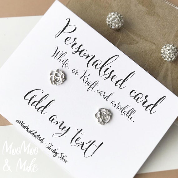 Personalised earrings   Sterling sliver earrings   Custom earrings   Bridesmaid gifts   Gifts for her   Thank you gifts   Bridal gifts