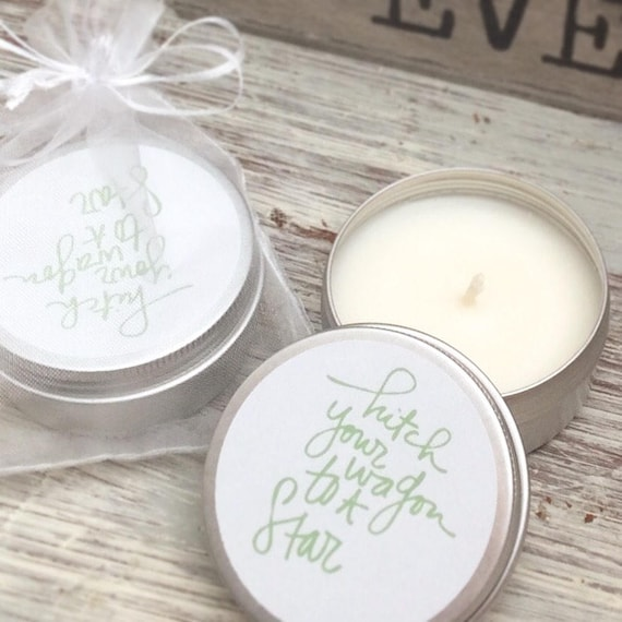 Set of 10 personalised candle Favours - Hitch your wagon to a star. Soy Favour Candles Personalised Favour. Tin 50ml come with organza bags