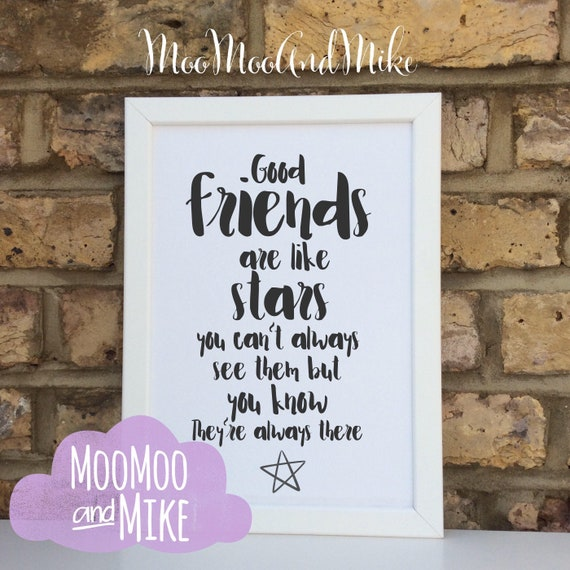 Good friends are like stars print | Print only | Home decor | Wall art | Custom prints | Gifts for friends