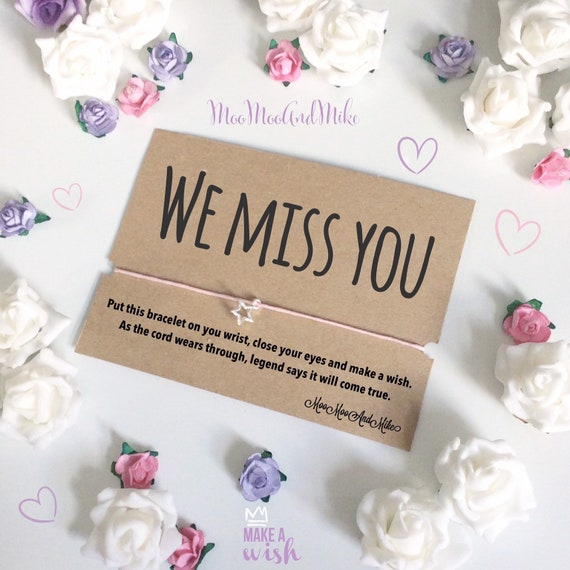 We miss you | Social distancing gifts | Wish bracelet | Isolation gifts | Can be personalised | Quarantine gift | Wish band | Charm bracelet