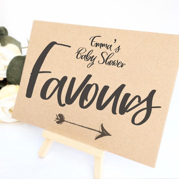Favour sign comes with small easel to stand on | Personalised | Baby shower favour sign | Party favours | Birthday party favours | Rustic