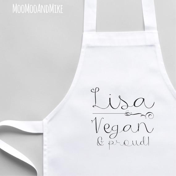 Personalised Apron | Vegan & proud | White Apron | Kitchenware | Custom apron | Cooking gifts | Matching aprons | Custom made