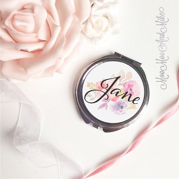 Compact Mirror | Floral design | Women's Accessories | Pocket Mirror | Made to order | Bridesmaid gifts | Maid of Honour gift