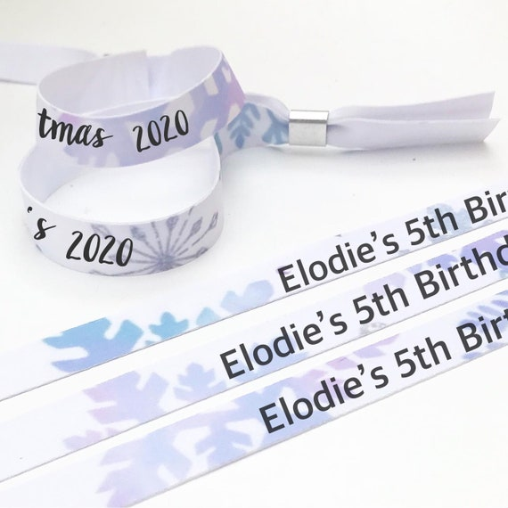 Personalised wristbands | Snowflake design | Add any text | Birthday wristbands | Festival wristbands | Frozen theme
