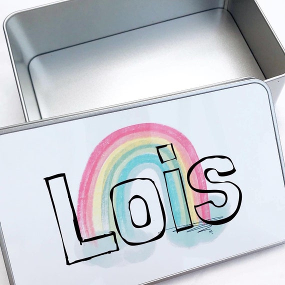 Keepsake tin | Personalised small gift box | Add any text | Rainbow tin | Personalised Box | Sweet tins | Personalised cake tin