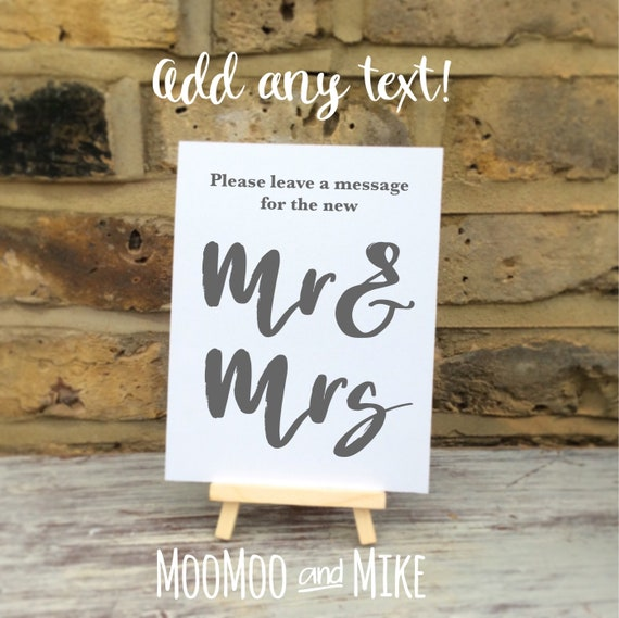 Wedding sign comes with small easel to stand on | Add any text | Wedding favour sign | Party favours | Birthday party favours