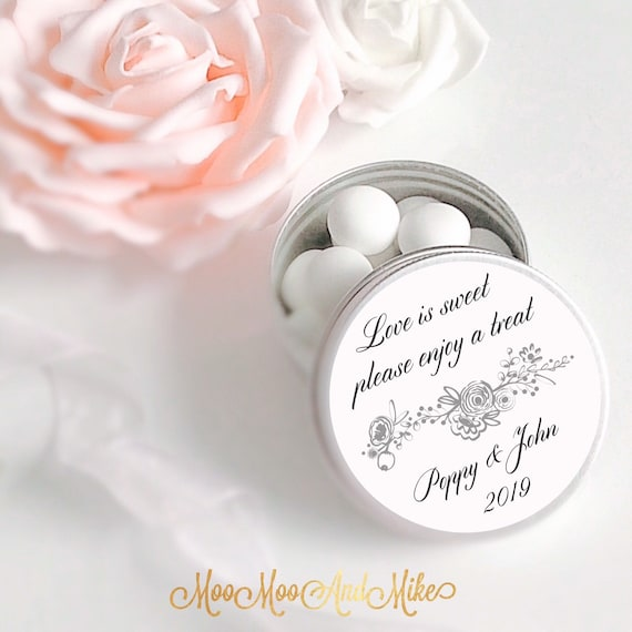Set of 10 personalised tins | Wedding Favours  | Wedding treat tin | Personalised Wedding Favor | Love is sweet | Mint to be