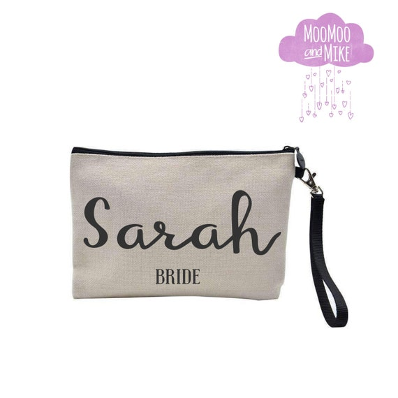 Zip pouch with strap | Add any text | Wash bag | Make up bag | Clutch | Pouch | Wristlet