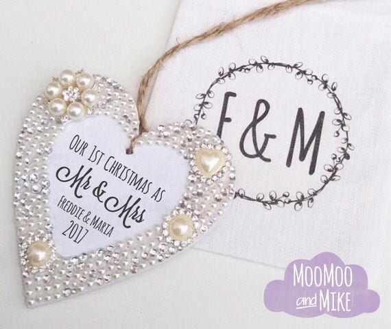 Personalised hanging heart | Christmas decorations | Crystal heart | Thank you gift | Any text | Wedding gifts.