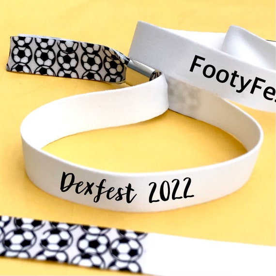 Personalised wristbands   Football design   Add any text   Football themed wristbands   Festival wristbands