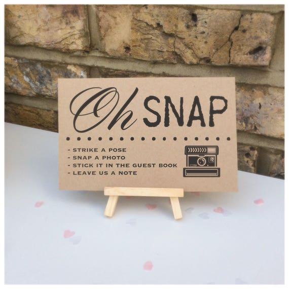 Oh snap guest book table sign comes with small easel to stand on | Wedding sign | Party signage | Wedding signage.