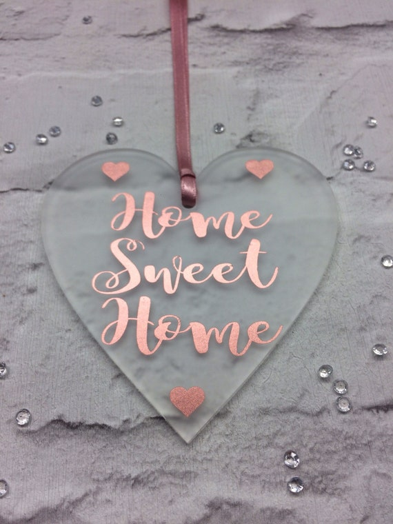 Heart hanging decoration Rose Gold vinyl text 'Home sweet Home'