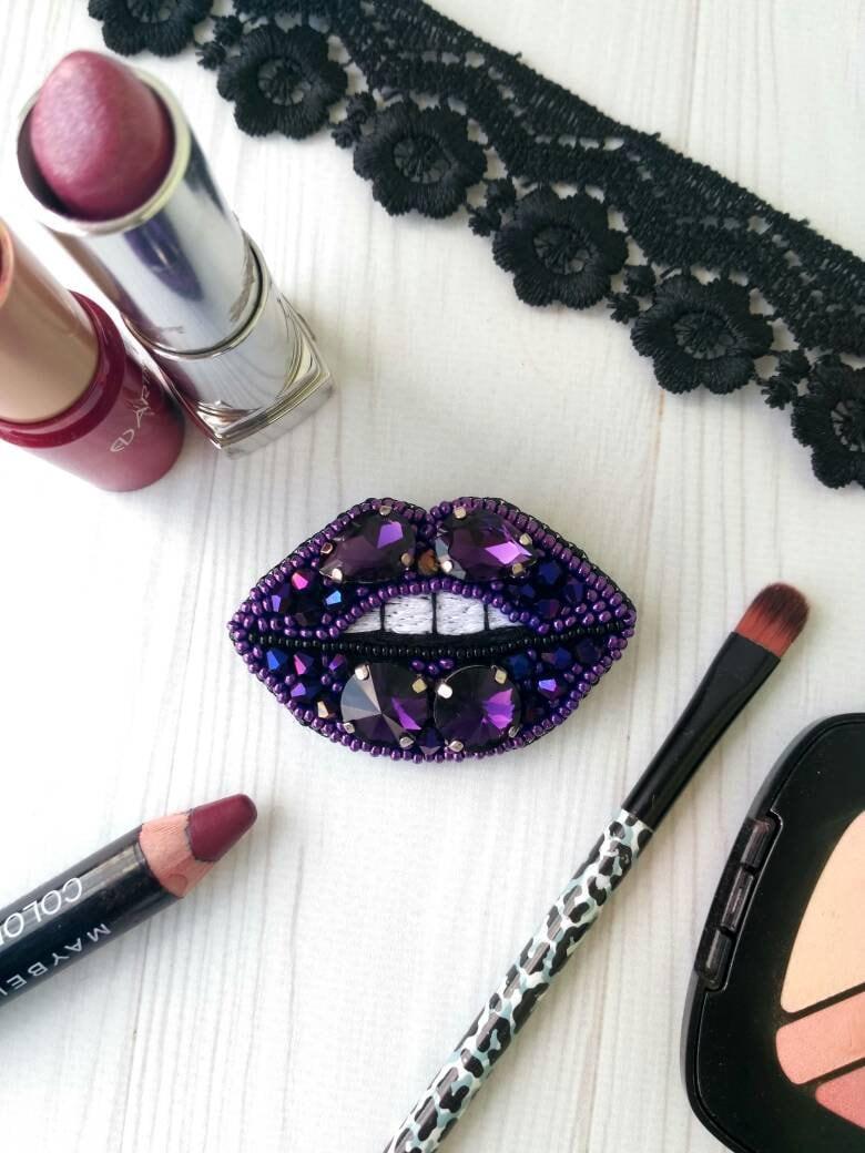 seed beads gift for her rhinestones pin Purple handmade beaded lips brooch
