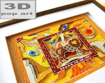 leo zodiac sign framed 3D pop art picture personalized gift with name and date of birth 3D mixed media
