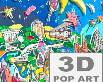 Wuppertal Germany 3D pop art skytrain cityscape skyline wall art fine art  3d construction limited edition