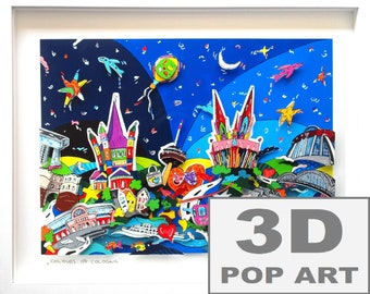 cologne germany 3d pop art framed cityscape shadow box wall art limited edition fine art