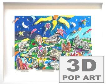 Wuppertal Germany 3D pop art skytrain cityscape skyline wall art fine art 3d construction limited edition framed
