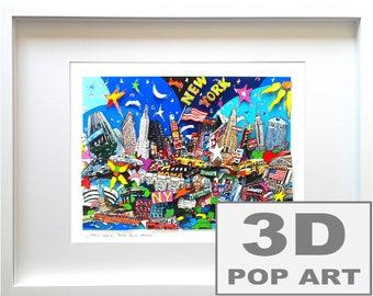 new york city 3d pop art framed artwork cityscape manhattan limited edition fine art