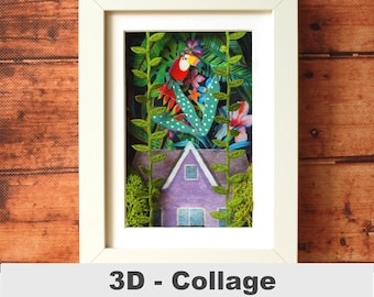 3D fabric image jungle picture in the frame tukan unique customizable collage