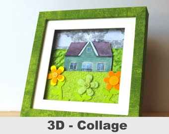 3D fabric picture house felt flowers picture meadow unique customizable at home collage