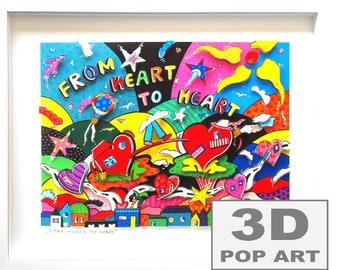 love 3D pop art framed wall art fine art shadow box limited edition