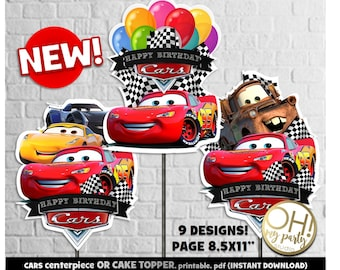 CARS CENTERPIECEcars Cake Toppercars 3 Centerpiece Cars Topper Party Birthday Supplies Decoration