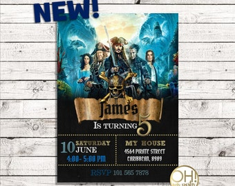 Pirates Of The Caribbean Birthday Invitationpirates Caribbeanpirates Birthdaypirates Party