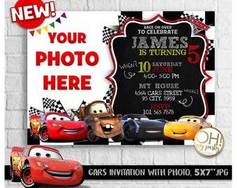 CARS 3 Birthday Invitation With Photo Cars Invitations Disney Invitationcars
