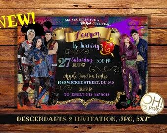 Descendants Invitationsdescendants Party Supplies Invitation Birthday 2 Disney