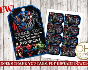 AVENGERS birthday thank you tags,avengers printable,avengers party, avengers birthday,superhero birthday, avengers party supplies, avengers