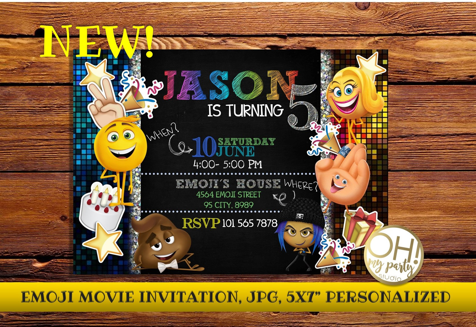 EMOJI Movie Birthday Invitation Emoji