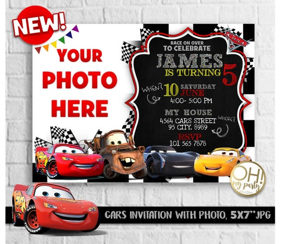 CARS 3 Birthday Invitation With Photo Cars