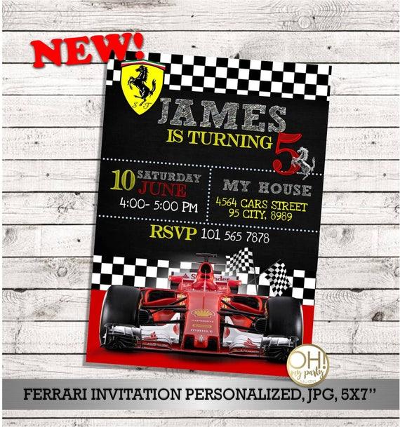 Urodziny Ferrari Zaproszenie Ferrari Ferrari Party Etsy