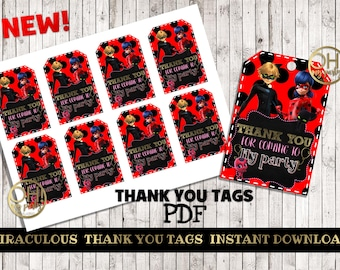 MIRACULOUS LADYBUG thank you tags, miraculous ladybug party, miraculous birthday party, miraculous party supplies, miraculous