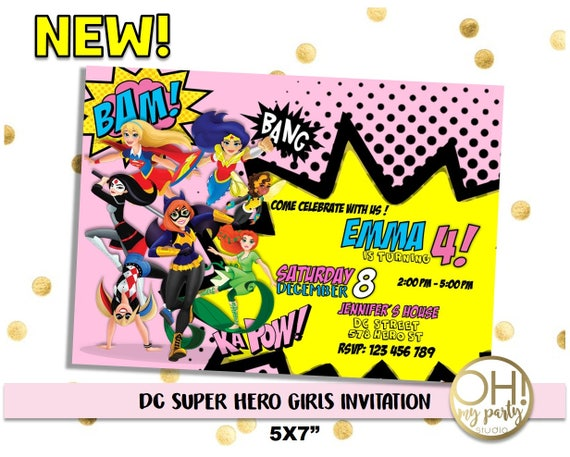 Dc Super Hero Girls Invitation Dc Superhero Girls Dc Etsy