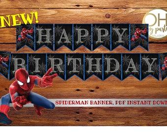 Spiderman Birthday BANNER, spiderman banner, spiderman birthday, spiderman party, spiderman printable,spiderman party supplies,spiderman