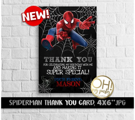 Spiderman Thank You Card Spiderman Party Spiderman Birthday Etsy