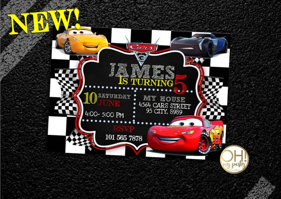 CARS 3 Birthday Invitation CARS 3 Cars Invitations Cars Etsy