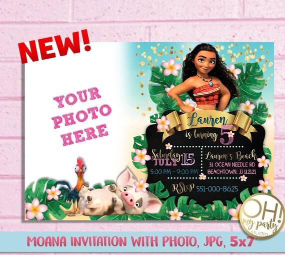 Moana Invitation With Photomoana Birthday Invitationmoana Etsy