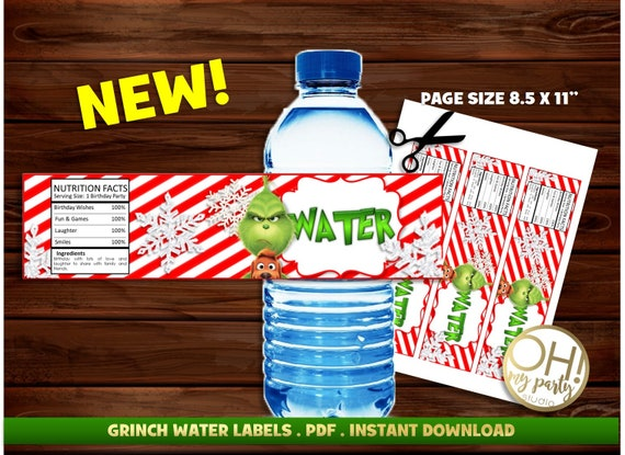 The Grinch Water Labels The Grinch Partygrinchmas Partythe Etsy