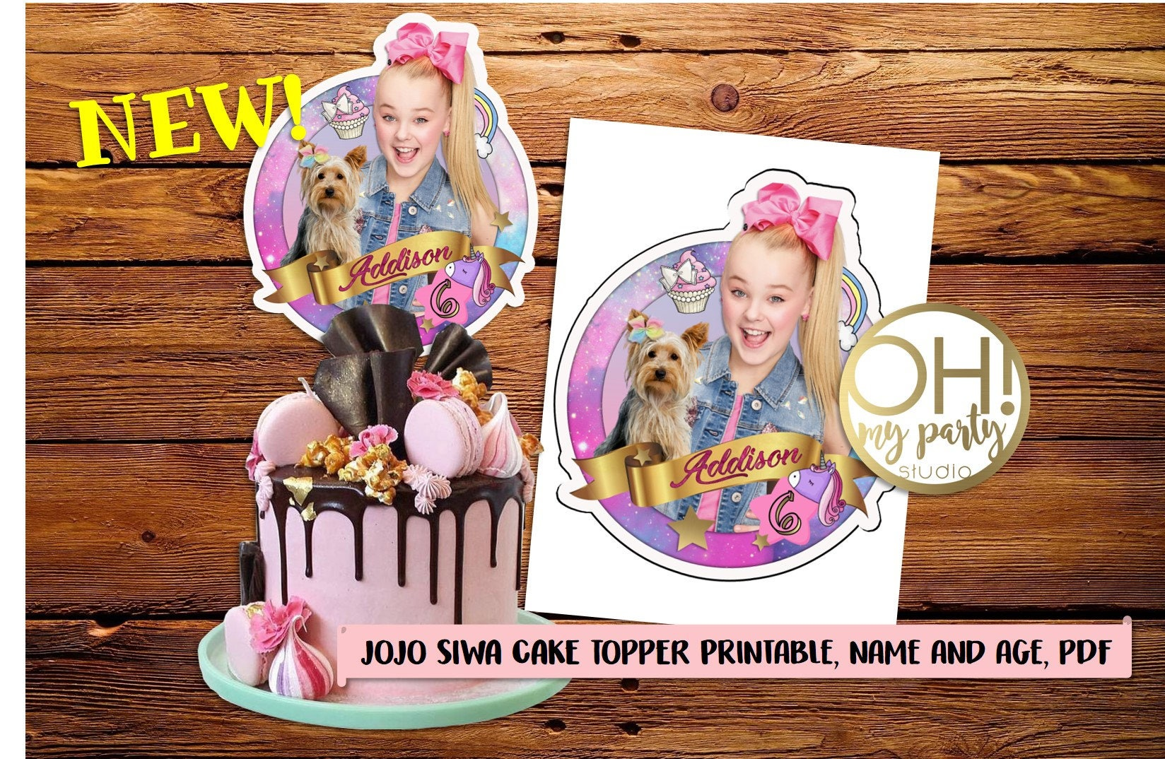 Jojo Siwa Cake Topper Jojo Siwa Party Suppliesjojo Siwa Etsy