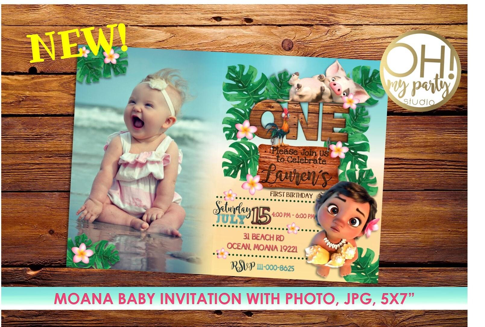 Moana Invitation With Photo Birthday