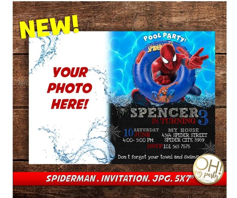 Spiderman Birthday Invitation With Photo