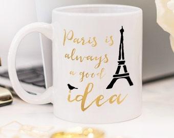 Paris mug, gift for someone who likes traveling