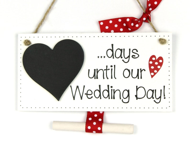Handmade Wedding Day Countdown Chalkboard Plaque Engagement Gift Red Polka Dot
